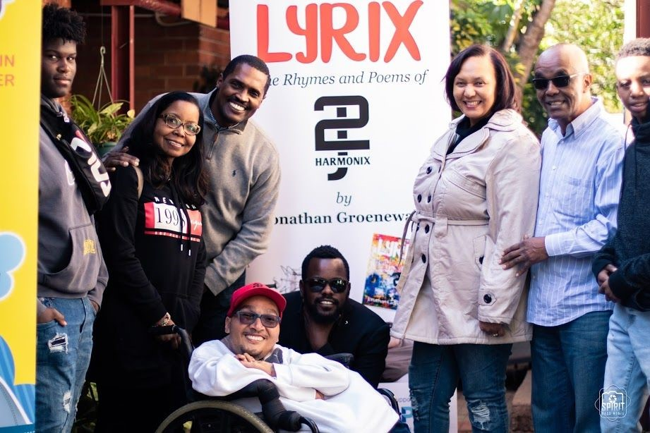 2J Harmonix, well-known rapper and Casual Day Ambassador, and friends at the launch of his book Lyrix: The Rhymes and Poems of Jonathan Groenewald at the Pierneef Theatre.
